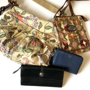 Lot of 4 FOSSIL crossbodies leather wallets GUC